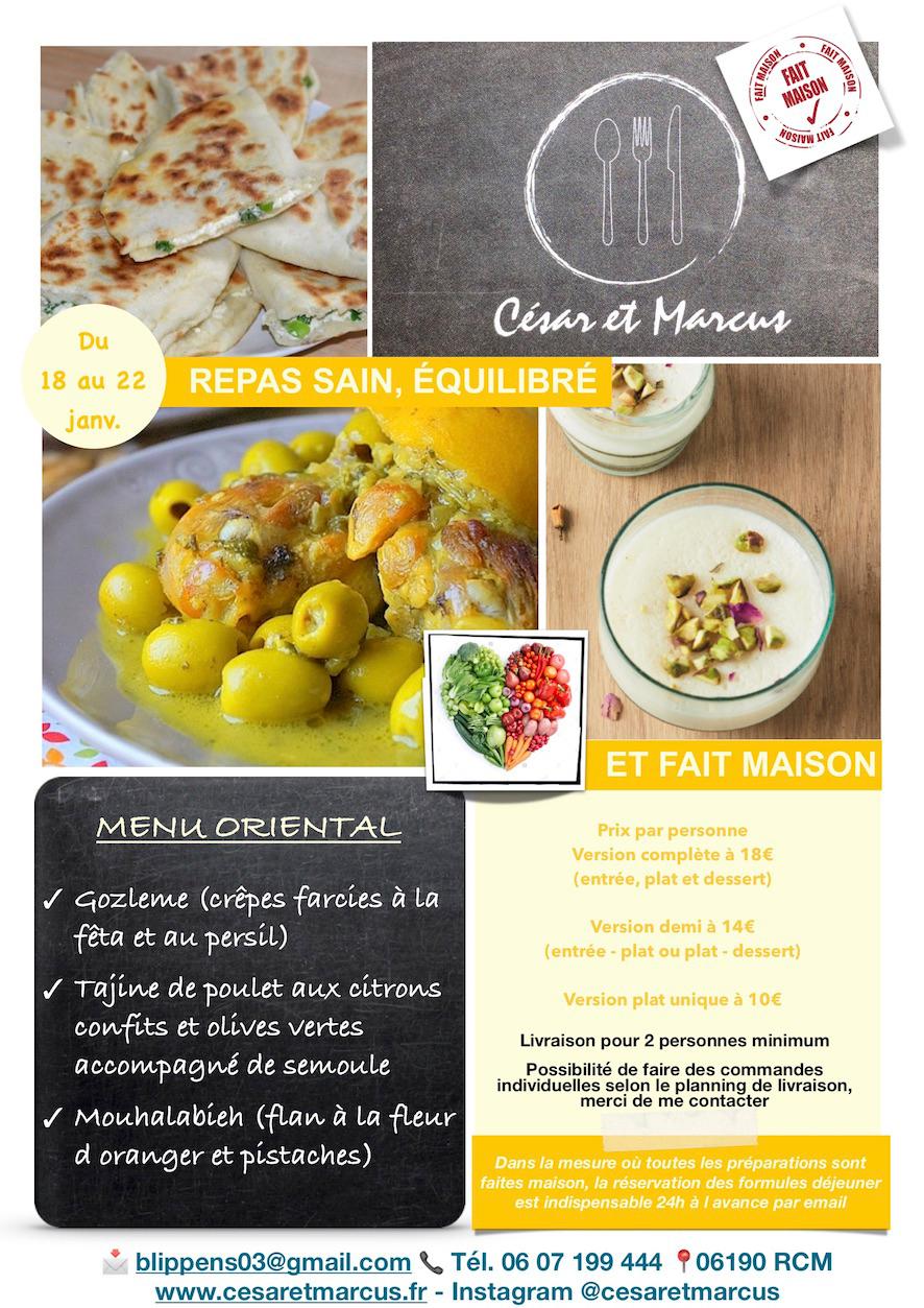 Menu semaine 3 - 2021 - Menu Oriental - Livraison Lunch Box Monaco Roquebrune Menton