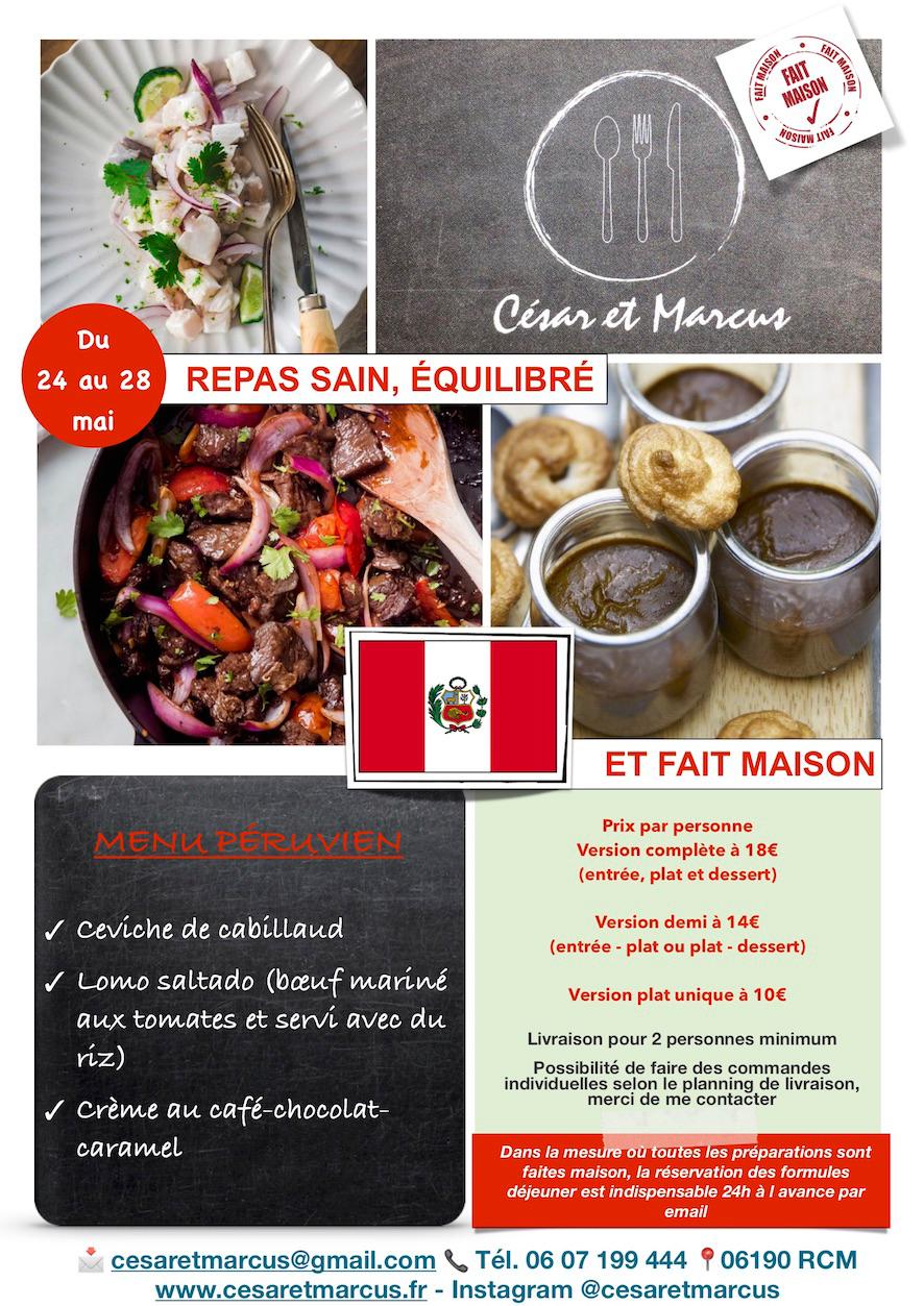 Menu semaine 21 - 2021 - Menu Péruvien - Livraison Lunch Box Monaco Roquebrune Menton - Livraison Lunch Box Monaco Roquebrune Menton