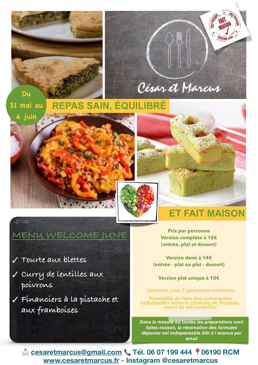 Menu semaine 22 - 2021 - Menu Welcome June - Livraison Lunch Box Monaco Roquebrune Menton - Livraison Lunch Box Monaco Roquebrune Menton