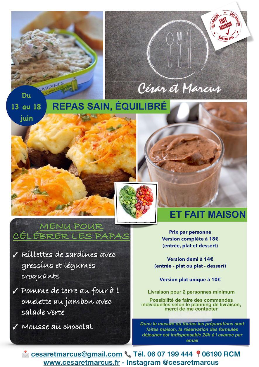 Menu Complet semaine 24 - 2021 - Menu pour célébrer les Papas - Livraison Lunch Box Monaco Roquebrune Menton - Livraison Lunch Box Monaco Roquebrune Menton