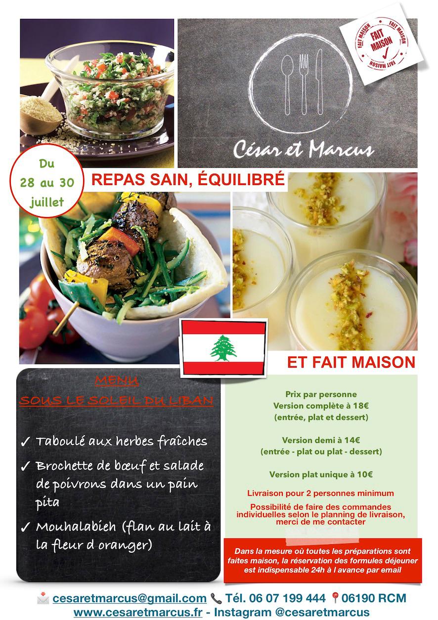 Menu semaine 30 - 2021 - Menu sous le soleil du Liban - Livraison Lunch Box Monaco Roquebrune Menton - Livraison Lunch Box Monaco Roquebrune Menton