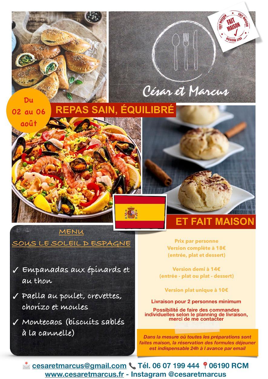 Menu semaine 31 - 2021 - Menu sous le soleil d'Espagne - Livraison Lunch Box Monaco Roquebrune Menton - Livraison Lunch Box Monaco Roquebrune Menton