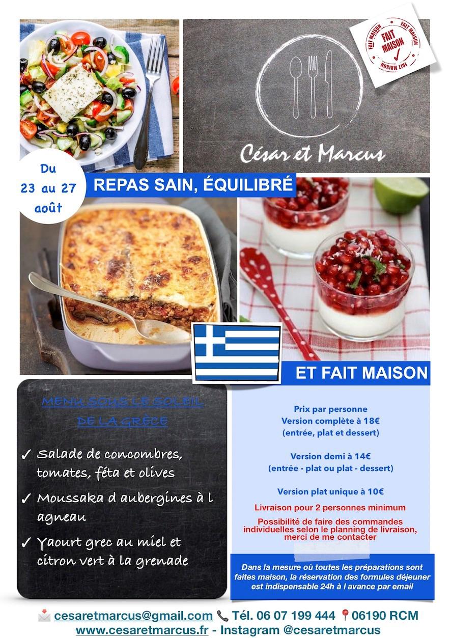 Menu semaine 34 - 2021 - Menu sous le soleil de la Grèce - Livraison Lunch Box Monaco Roquebrune Menton - Livraison Lunch Box Monaco Roquebrune Menton