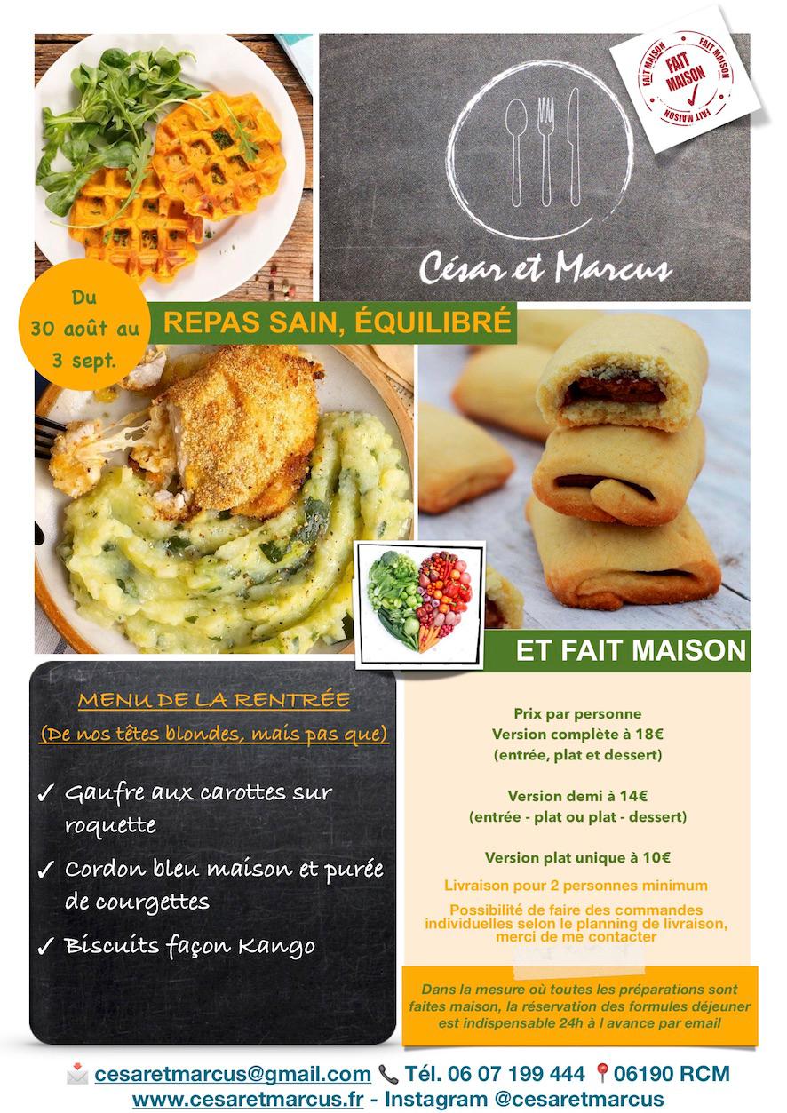 Menu semaine 36 - 2021 - Menu de la rentrée - Livraison Lunch Box Monaco Roquebrune Menton - Livraison Lunch Box Monaco Roquebrune Menton