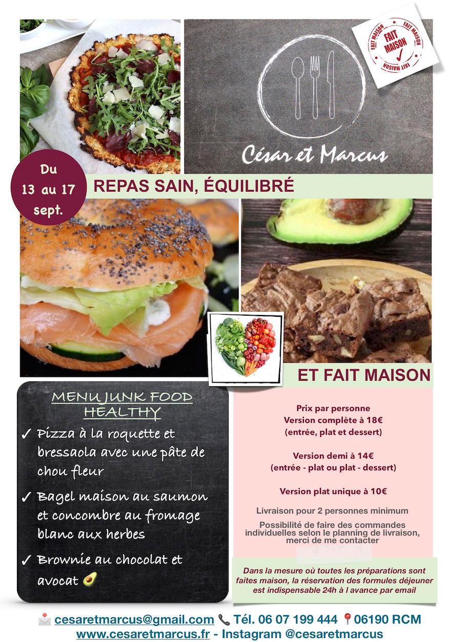 Menu semaine 37 - 2021 - Menu Junk Food Healthy - Livraison Lunch Box Monaco Roquebrune Menton - Livraison Lunch Box Monaco Roquebrune Menton